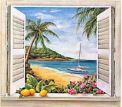 Mural Portfolio II Trompe L'Oiel Tropical Paradise Window Accent Wall Sticker