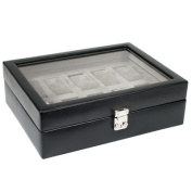 Heritage Watch Storage Boxes Ten Piece Watch Storage Box with Cover in Black