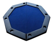 Padded Octagon Folding Poker Table Top with Cup Holders in Blue