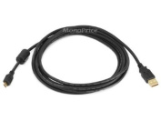 Monoprice 3m USB 2.0 A Male to Micro 5pin Male 28/24AWG Cable with Ferrite Core (Gold Plated)
