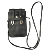 Black PU Leather Universal Mobile Phone Bag Case Cover Pouch With Shoulder Strap For Iphone5 4S/ for Samsung Galaxy Note 2 ,GALAXY S3 i9300, Galaxy S4 i9500/Htc One/Motorola/Blackberry Z10