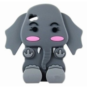 Cute 3D Cartoon Elephant Silicone Case Cover Skin for iPhone 4 4S Grey