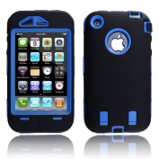 Hard Case with Soft Skin Rubber Silicone Cover for Iphone 3g 3gs Black/Blue