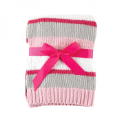 Hudson Baby Chenille Stripe Baby Blanket with Gift Ribbon- Pink