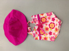 One Piece Print Tank Bathing Suit & Hat for American Girl Dolls by Sophia's