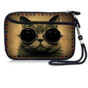 Cute CAT Waterproof Portable 6.4cm Neoprene Soft Carrying Case Pouch Sleeve With External pocket for Hard Drive HDD Data cable,U disc, GPS and other Accessories