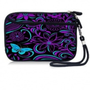 Purple Blue Waterproof Portable 6.4cm Neoprene Soft Carrying Case Pouch Sleeve With External pocket for Hard Drive HDD Data cable,U disc, GPS and other Accessories