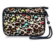 Colourful Leopard Print Waterproof Portable 6.4cm Neoprene Soft Carrying Case Pouch Sleeve With External pocket for Hard Drive HDD Data cable,U disc, GPS and other Accessories