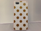 iPhone 5 Phone Premium HardShell Phone Case White with Gold Polka Dots