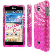 MPERO - Collection Diamante Bling Hot Pink Case for LG Spirit 4G MS870