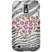 BasAcc - Zebra Heart Bling Diamond Case Cover for Samsung Galaxy S2 T989 Hercules