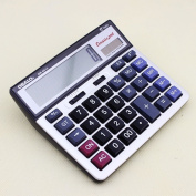 Easy carrying OSALO OS-6815 Two way power solar electronic calculator with metal faceplate and extra large display