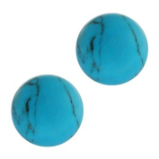 10mm Stunning Round Blue Turquoise with .925 Sterling Silver Earring Studs