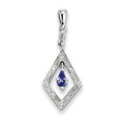 Sterling Silver Rhodium Plated Diamond and Tanzanite Pendant. Gem Wt- 1.27ct