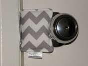 Cushy Closer 100-110 Door Cushion in Grey and White Chevron
