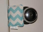 Cushy Closer 100-112 Door Cushion in Aqua and White Chevron