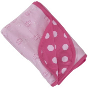 Child of Mine Teddy Bear and Polka Dot 2-Ply Swaddle Blanket, Pink