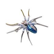 Dazzling Spider Clip Pin Brooch w/ Rhinestone - Blue