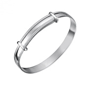 Jo Expanding Sterling Silver Baby Bangle Beaded Edge 45mm