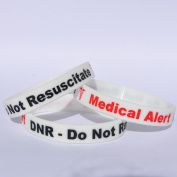 DNR - DO NOT RESUSCITATE (1 x WHITE) Medical Alert Band Wristband - 3 TONE COLOUR BRACELET - 100% Silicone id card Emergency identity rubber permanent ink Debossed bands