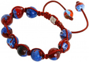 Royal Diamond Shamballa Style Bracelet with Blended Blue and Maroon Beads
