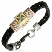Urban HQ Double Braided Black Leather & Copper Bracelet Maltese Cross. Unisex Approx 19cm