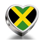 Soufeel Jamaica flag Heart Photo Charm Beads Fit Pandora Chamilia Biagi beads Charms Bracelet