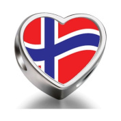 Soufeel Norway Flag Heart Photo Charm Beads Fit Pandora Chamilia Biagi beads Charms Bracelet