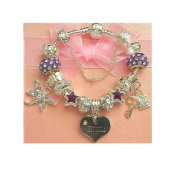 Treasured Charms & Beads Luxury Pink & Silver Name Charm Bracelet 'Emma' 18cm