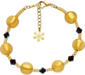 Valentina Genuine Murano Glass Black and Gold Bracelet of 21.5cm