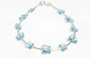Bracelet Sterling Silver with Aquamarine Blue. Crystals Butterflies