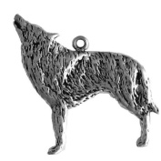 Wolf sterling silver charm pendant. SSC19L