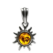 Baltic Honey Amber and Sterling Silver Very Small Flaming Sun Charm-Pendant