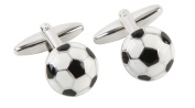 Harvey Makin Rhodium Plated Cufflinks Footballs