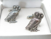 Greek Owl Cufflinks in English Pewter