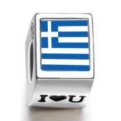 Soufeel Greece Flag Photo I Love U European Charms Fit Pandora Bracelets