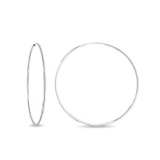 Bling Jewellery Thin Sterling Silver Continuous Endless Hoop Earrings 4.4cm