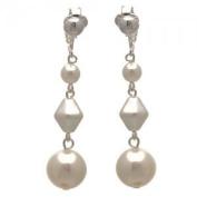 STATUETTE Silver White Pearl Clip On Earrings