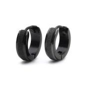K Mega Jewellery - Black Matted Stainless Steel Stud Hoop Mens Earrings