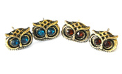 2FOR1 SPECIAL PRICE Brown Amber and Blue Eyed Retro Bronze Vintage Cute Owl head Boho Stud Earrings J002
