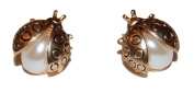 Vintage Style Ladybird/Ladybug Anqitue Brass/Bronze Stud Earrings with Faux Pearls Cute and Unusual