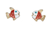 Intricate Enamel Plated Fish with Blue Eyes Stud Earrings Super Cute (Supplied in a Gift Pouch) Unique Jewellery