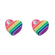 925 Sterling Silver Rainbow Hearts Childrens Stud Earrings
