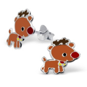 Pair of Small Sterling Silver Rudolph the Red Nosed Reindeer Christmas Stud Earrings (1.2cm x 1.1cm) Supplied in Gift Box