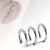 Clip On Ear Cuff - Pierced & Modified - Body Jewellery - Fake Helix Piercing - Triple Plain Ring Look