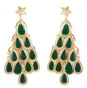 Zest Dark Green & Golden Christmas Tree Drop Chandelier Pierced Earrings