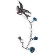 Jewellery of Lords D28 Silver Tone Swallow Swift Bird Wings Helix Ear Cuff Wrap Earring Chain Stud Stones