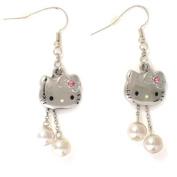Genuine Sanrio Hello Kitty Pearl Austrian Crystal Charm Drop Earrings Gift Boxed