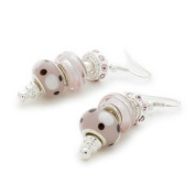 Bling Rocks Silver 'Pink Me Up' Pandora Style Bead/Charm Earrings
