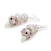 Bling Rocks Silver 'Pink Me Up' Pandora Style Bead/Charm Earrings